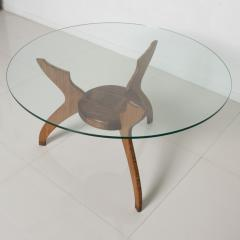 Pablo Romo Graceful Sculptural Side Round Table in Walnut Bamboo by AMBIANIC - 1684107