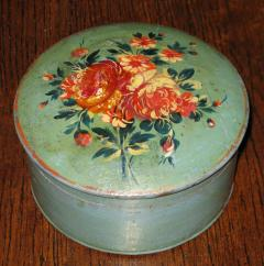 Painted Blue and Green Box with Floral Bouquet Decorated Lid - 920538