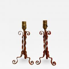 Painted Wrought Iron Lamps A Pair - 2144666