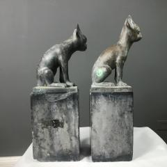 Pair 1920s Art Deco Solid Zinc French Bulldog Fireplace Chenets - 1700276