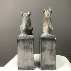 Pair 1920s Art Deco Solid Zinc French Bulldog Fireplace Chenets - 1700278