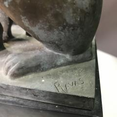 Pair 1920s Art Deco Solid Zinc French Bulldog Fireplace Chenets - 1700282