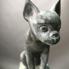 Pair 1920s Art Deco Solid Zinc French Bulldog Fireplace Chenets - 1702479