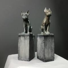 Pair 1920s Art Deco Solid Zinc French Bulldog Fireplace Chenets - 1702480
