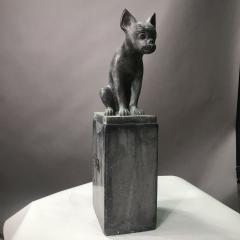 Pair 1920s Art Deco Solid Zinc French Bulldog Fireplace Chenets - 1702482