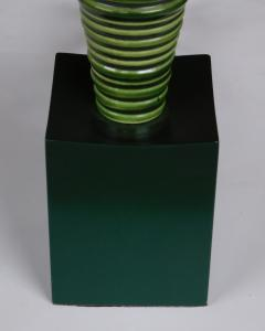 Pair 1950s Atomic Age Conical form Green Glazed Ribbed Lamps - 1828752