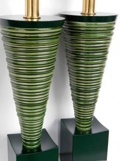 Pair 1950s Atomic Age Conical form Green Glazed Ribbed Lamps - 1828753