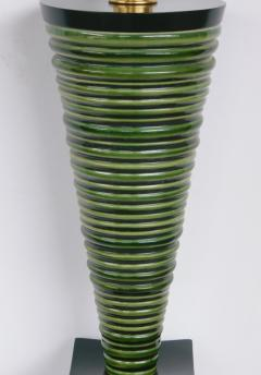 Pair 1950s Atomic Age Conical form Green Glazed Ribbed Lamps - 1828754
