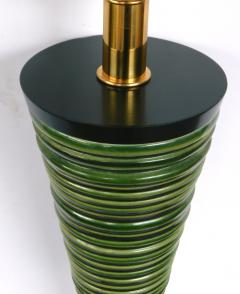 Pair 1950s Atomic Age Conical form Green Glazed Ribbed Lamps - 1828756