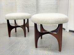 Pair 1960s Solid Walnut Stools in Boucle Fabric - 2056015