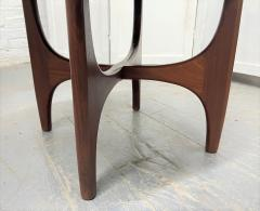 Pair 1960s Solid Walnut Stools in Boucle Fabric - 2056016
