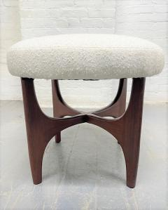 Pair 1960s Solid Walnut Stools in Boucle Fabric - 2056017