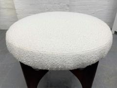 Pair 1960s Solid Walnut Stools in Boucle Fabric - 2056018
