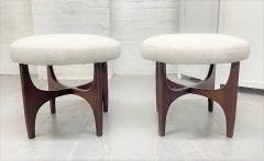 Pair 1960s Solid Walnut Stools in Boucle Fabric - 2056019