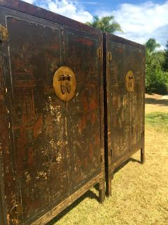 Pair 19th Century Chinese Antique Painted Cabinets - 375519
