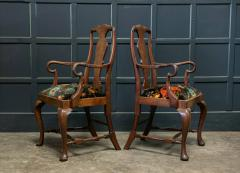 Pair 19thC Large Mahogany Carver Elbow Chairs Reupholstered - 1953633