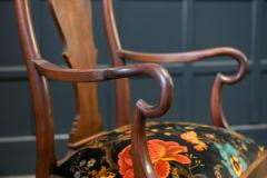 Pair 19thC Large Mahogany Carver Elbow Chairs Reupholstered - 1953666