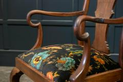 Pair 19thC Large Mahogany Carver Elbow Chairs Reupholstered - 1953668
