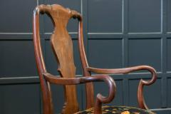 Pair 19thC Large Mahogany Carver Elbow Chairs Reupholstered - 1953670