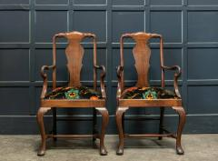 Pair 19thC Large Mahogany Carver Elbow Chairs Reupholstered - 1953672