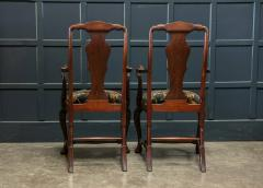 Pair 19thC Large Mahogany Carver Elbow Chairs Reupholstered - 1953674