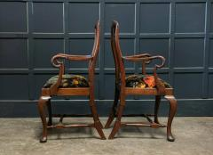 Pair 19thC Large Mahogany Carver Elbow Chairs Reupholstered - 1953682