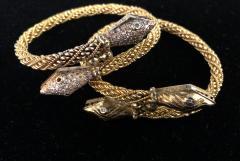 Pair Antique 22k 24K gold Rose cut Diamond Snake bracelets emerald and diamond - 1788278