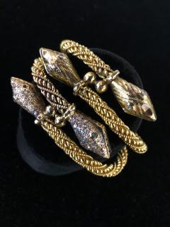 Pair Antique 22k 24K gold Rose cut Diamond Snake bracelets emerald and diamond - 1788282