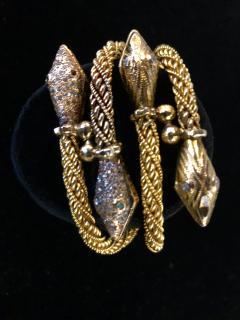 Pair Antique 22k 24K gold Rose cut Diamond Snake bracelets emerald and diamond - 1788284