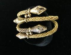 Pair Antique 22k 24K gold Rose cut Diamond Snake bracelets emerald and diamond - 1788291