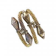 Pair Antique 22k 24K gold Rose cut Diamond Snake bracelets emerald and diamond - 1791231