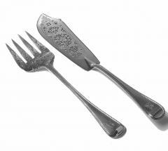 Pair Antique Silver Fish Servers London 1868 Geo Adams - 1308433