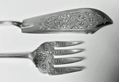 Pair Antique Silver Fish Servers London 1868 Geo Adams - 1308437