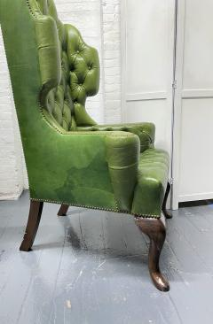 Pair Antique Style Tufted Leather Wingback Chairs - 2085842