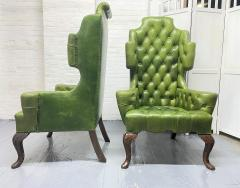 Pair Antique Style Tufted Leather Wingback Chairs - 2085843