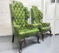 Pair Antique Style Tufted Leather Wingback Chairs - 2085844