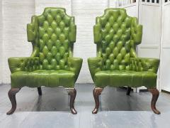 Pair Antique Style Tufted Leather Wingback Chairs - 2085845
