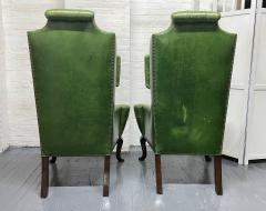 Pair Antique Style Tufted Leather Wingback Chairs - 2085846