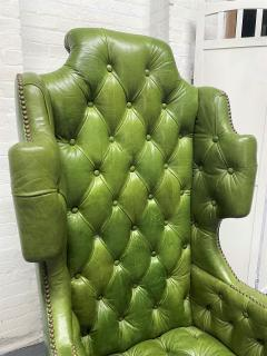 Pair Antique Style Tufted Leather Wingback Chairs - 2085849