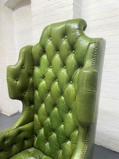 Pair Antique Style Tufted Leather Wingback Chairs - 2085850