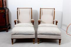 Pair Art Deco Chairs with Ottomans - 1753169