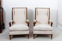 Pair Art Deco Chairs with Ottomans - 1753171