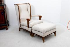 Pair Art Deco Chairs with Ottomans - 1753174