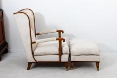 Pair Art Deco Chairs with Ottomans - 1753176