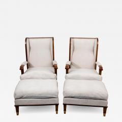 Pair Art Deco Chairs with Ottomans - 1753823