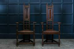 Pair Arts Crafts Oak Shakespeare Chairs - 1953641