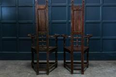 Pair Arts Crafts Oak Shakespeare Chairs - 1953721
