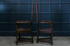 Pair Arts Crafts Oak Shakespeare Chairs - 1953746