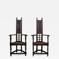 Pair Arts Crafts Oak Shakespeare Chairs - 1955062