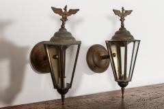 Pair Austrian Eagle Mounted Brass Wall Lanterns - 2052205
